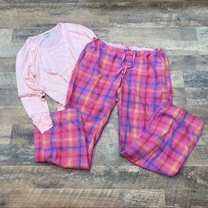 PINK Victoria Secret plaid pj bottoms & pink shirt